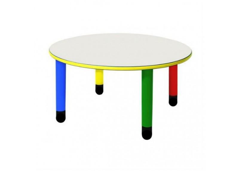 Tavolo Rotondo con Gambe Colorate